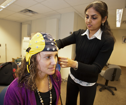 student performs hearing test